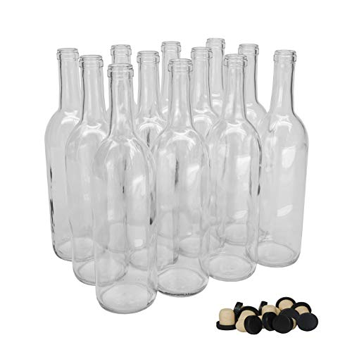 North Mountain Supply 750ml Clear Glass Bordeaux Wine Bottle Flat-Bottomed Cork Finish - with Tasting Corks - Case of 12
