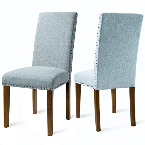 Merax Fabric Upholstered Dining Chairs Set of 2 with Copper Nailhead Trims and Solid Wood Legs (Blue)