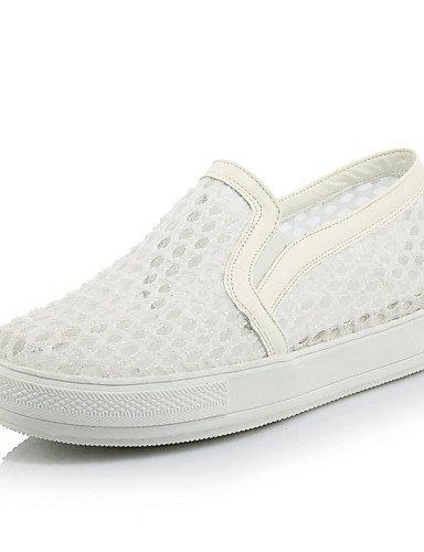 ZQ gyht Zapatos de mujer - Plataforma - Comfort / Punta Redonda - Mocasines - Exterior / Vestido / Casual - Semicuero - Negro / Blanco / Beige , white-us2.5 / eu32 / uk1 / cn31 , white-us2.5 / eu32 / beige-us2.5 / eu32 / uk1 / cn31