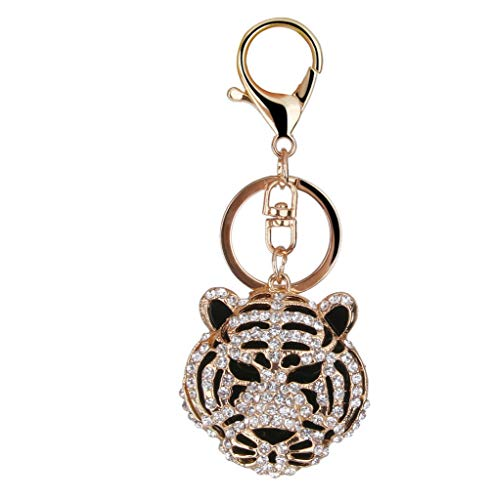 (NATFUR Golden Crystal Diamante Tiger Head Key Ring Chain Charms Bag Pendant Keyfob Elegant Novelty for Women Cute for Men Holder Perfect for Girls for Gift Elegant)