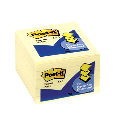 - Post-it Notes Pop-up, America's #1 Favorite Sticky Note, 3 Inches x 3 Inches, Canary Yellow, 100 Sheets per Pad, 5 Pads per Case (3301-5YW)