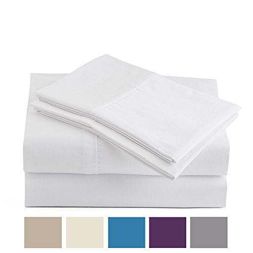 (Peru Pima - 285 Thread Count - 100% Peruvian Pima Cotton - Percale - Bed Sheet Set (Queen, White))