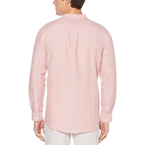 7b7945fc8c85 Perry Ellis Men's Long-Sleeve Solid Linen Cotton Popover Shirt ...