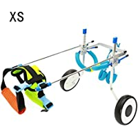 Homend Adjustable Dog Wheelchair, 5 Sizes for Hind Legs Rehabilitation, Free Belly Band Protect Spine, Free Leash (XS)