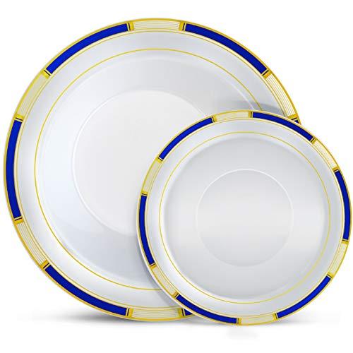 Laura Stein Designer Dinnerware Set | 64 Disposable Plastic Party Bowls | White Bowl with Blue Rim & Gold Accents | Includes 32 x 12 oz Soup Bowls + 32 x 5 oz Dessert Bowls | Venetian