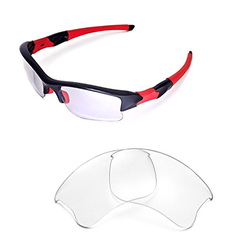 Walleva Replacement Lenses for Oakley Flak Jacket XLJ Sunglasses - Multiple Options Available - Clear Flak Jacket Lenses Oakley
