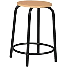 Martin Ashley Desk Height Stool with Natural Wood Seat