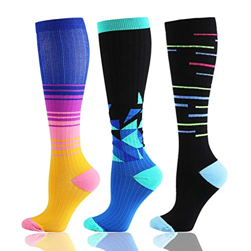 HLTPRO Compression Socks (20-30 mmHg) for Men & Women -3/6 Pairs Best Stockings for Running,Traveling, Shin Splints, Nurse, Athletic and Pregnancy
