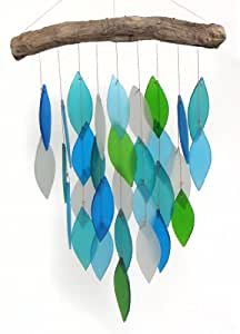 Blue Handworks Glass Waterfall Wind Chime, Ocean Blue