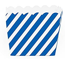 Dress My Cupcake Striped Square Loaf Pan Favor Box (Set of 12), Royal Blue