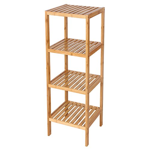 SONGMICS 100% Bamboo Bathroom Shelf 4-Tier Multifunctional Storage Rack Shelving Unit 38 5/8'' x 12 7/8'' x 12 7/8'' UBCB54Y