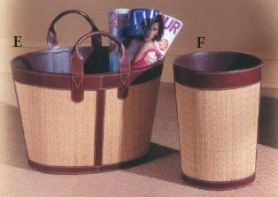 UPC 053839132633, WOVEN SEE GRASS TOTE WITH LEATHER TRIM