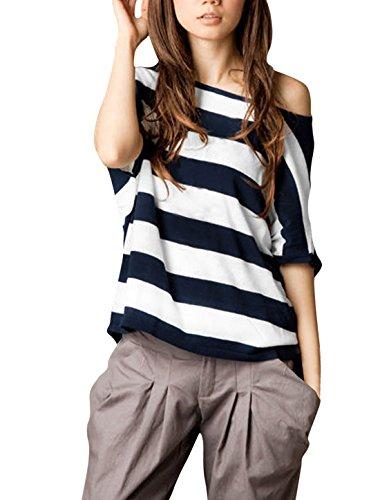 da Blu manica maniche corta 1x donna Camicia a scuro Dolman con asimmetrica zI0Tqxgwn