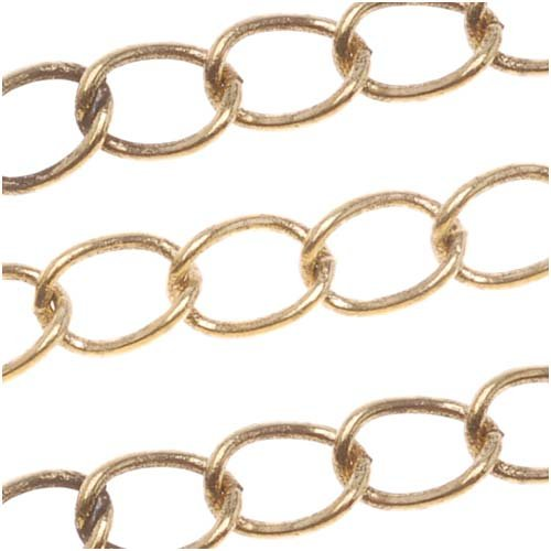 Antiqued 22K Gold Plated Curb Chain 4mm Bulk By The Foot (Gold Bracelet 22kt)