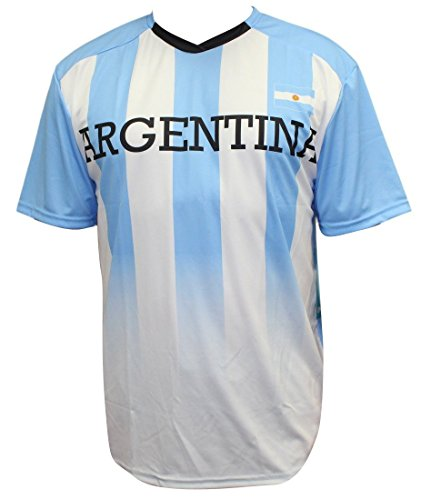 World Cup Soccer Argentina Youth Boys Federation Jersey Short Sleeve Tee, Medium (10-12), White