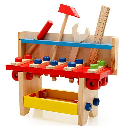 M MOOHAM Wooden Construction Toy - Wooden Construction Pounding Bench Deluxe Tool Kit Toddler Working Bench with Mallet for Kids Ages 3+ (B)