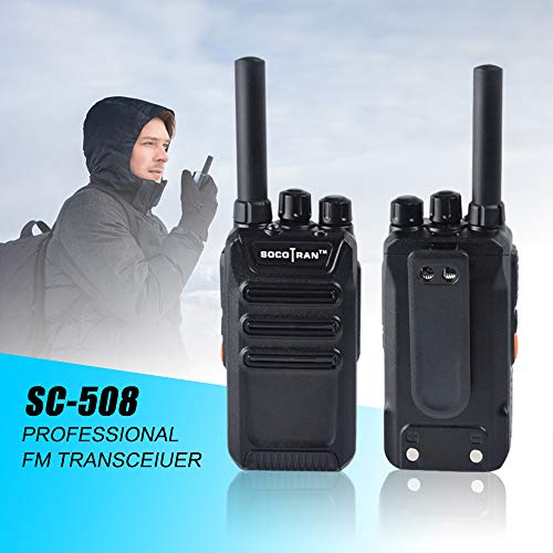(Ham Radio Portable Two-Way Radio UHF 400-470MHz Mini Walkie Talkie 2W Long Range 2 Way Radio with Rechargeable Li-ion Battery VOX Scramble for Outdoor & Indoor (Black, 2Pack) SOCOTRAN)