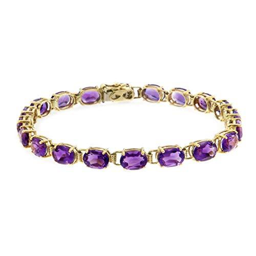 ISAAC WESTMAN 14K Yellow Gold Amethyst Gemstone Tennis Bracelet | 7.25