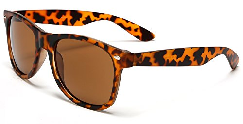 Samba Shades New Vintage Horned Rim Sunglasses with Brown Tortoise Shell Frame, Brown UV400 Lens