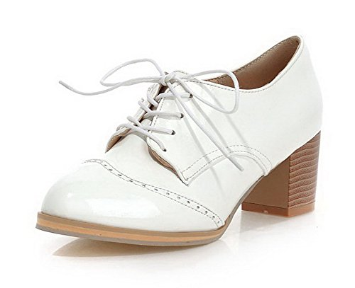 Round up Kitten heels White Soild Shoes toe Women's Lace Pu Court Odomolor aOFqHF