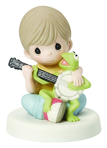 (Precious Moments, Disney The Muppets, Music Is What Friendship Sounds Like Bisque Porcelain Figurine, Kermit, 154015 )