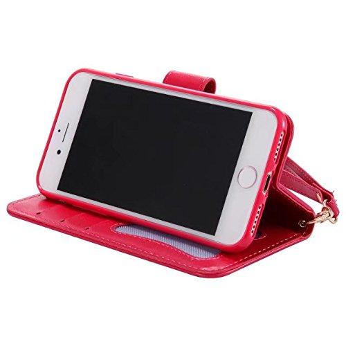 Hülle für iPhone 7 ,Schutzhülle Für IPhone 7, Leder Folio Flip Stand Brieftasche Beutel Case Cover ,cover für apple iPhone 7,case for iphone 7 ( Color : Rose-red )