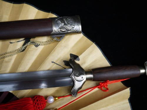 """Loong sword/Chinese Hand Forged Tai Chi Sword sale Flexible Blade Full Tang&Red Tassel/Rosewood scabbard/wushu/Length 40"""""""