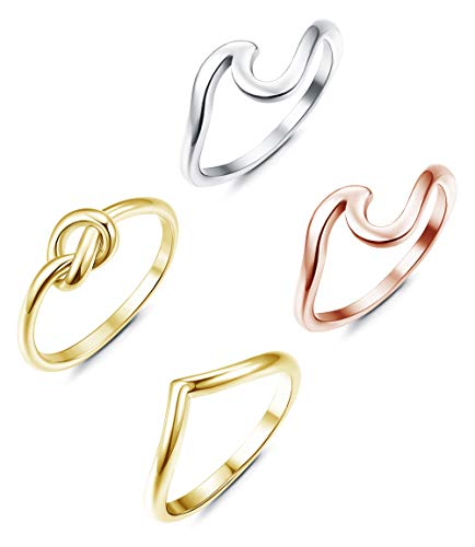 (FIBO STEEL Stainless Steel Wave Knot Rings for Women Girls Thumb Band Beach Rings Set)