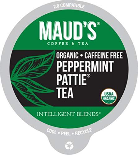 (Maud's Organic Peppermint Tea (Herbal Tea Medium Dark Brew), 24ct. Recyclable Single Serve Caffeine Free Organic Tea Pods)