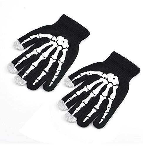 Womens Mens Skeleton Smart Phone Tablet Touch Screen Gloves Warm Winter Mittens