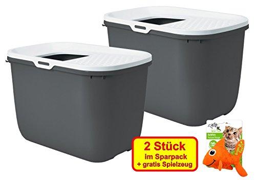 PETGARD 2er Sparpack Katzentoilette HOP IN Einstieg von Oben grau mit gratis Spielzeug