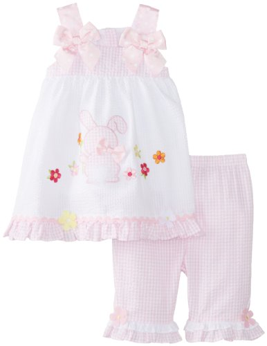 Bonnie Baby Pink and White Seersucker Easter Outfit for Baby Girls