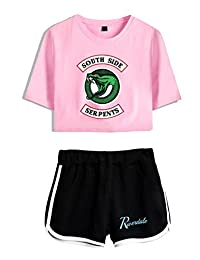 ZIGJOY Riverdale Crop Top T-Shirts and Shorts Clothes Suit for Girls and Women