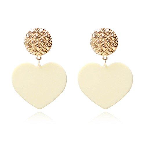 Peach Heart Acrylic Dangle Earrings Novelty Jewelry S