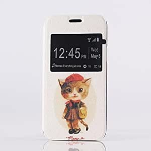 DUR The Kitten Pattern PU Open the Window Leather Case and Stand for Samsung Galaxy S5mini