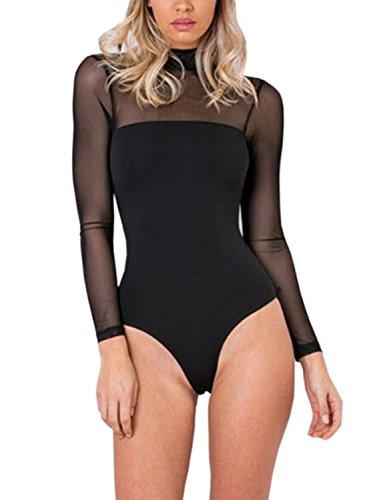 Futurino Women's Long Sleeves Spandex Mock Neck Mesh Shoudler Leotard Bodysuit