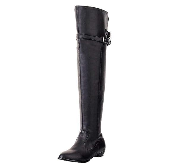 ZARLLE_Botas Botas, Mujer Invierno Botas Altas de tacón Alto de Cuero de Moda de Mujer Botas Altas de Invierno de Rodilla Zapatos Mujer Plataforma: ...
