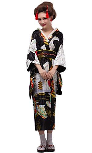 Soojun Women's Traditional Japanese Kimono Style Robe Yukata Costumes, Style3- Black, US 2-10