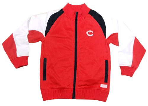 MLB Cincinnati Reds Girl's Mock Neck Track Jacket, Red, Medium (Red Cincinnati Reds Jacket)