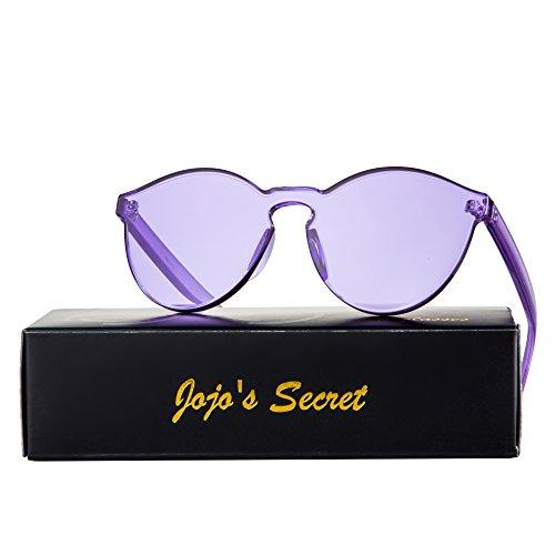 JOJO'S SECRET One Piece Rimless Sunglasses Transparent Candy Color Eyewear JS017 (Transparent&Purple, - To Sunglasses Color