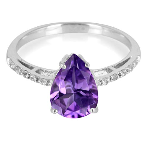 (Natural ROSE DE FRANCE AMETHYST & WHITE TOPAZ White Gold Plated 925 Sterling Silver Ring Size 7)