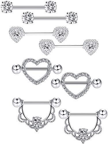 Tongue Piercing Heart - Tatuo 4 Pairs Stainless Steel Nipple Rings Tongue Ring Piercing Body Jewelry Barbell CZ Heart Shape Rings for Women Girls (Color 1)