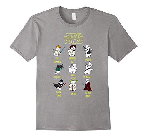 Cat Star Wars (Men's Star Paws T Shirt | Funny Cat T Shirt | Cat Lover T Shirt Large Slate)
