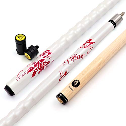 "CUESOUL 58"" 21oz Maple Pool Cue Stick 13mm Cue Tips,Ergonomic Design Cue,Very Nice Grip + Joint Protector/Cue Shaft Protector"