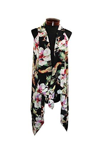 Women's Floral Design Multi Functional Scarf Vest for Spring Summer (Black)