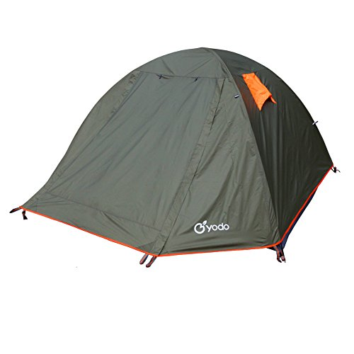 yodo Spacious 3-Season Waterproof Tent for Camping Backpacking, Double Layers with 2 Doors and Rainfly,Olive
