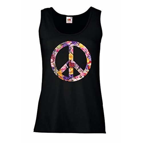 1970s Top - lepni.me Womens Tank Tops Peace Symbol, 1960s 1970s Hippy Hippie Festival, Peace Sign Flower Summer Hipster SWAG (X-Large Black Multi Color)