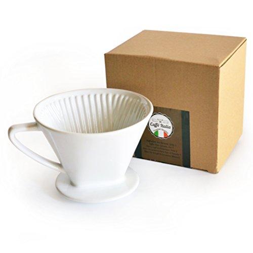 Caffé Italia Permanent-Kaffee-Filter exzellenter aromareicher Kaffeegeschmack - Handfilter Kaffeefilter-Aufsatz Keramik - Größe 4 für 2-4 Tassen - Weiß - Premium-Qualität