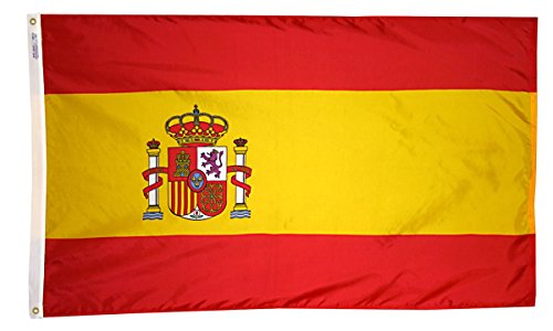 (Annin Flagmakers Model 197819 Spain Flag 3x5 ft. Nylon SolarGuard Nyl-Glo 100% Made in USA to Official United Nations Design Specifications.)