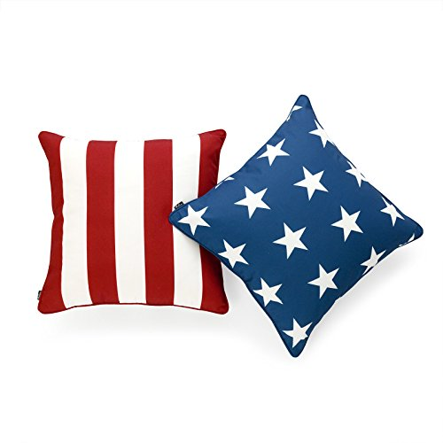 Hofdeco Decorative Throw Pillow Cover INDOOR OUTDOOR WATER RESISTANT Canvas Americana Red Stripes Navy Blue Stars 18